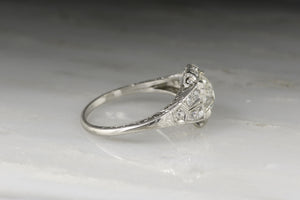 Edwardian / Early Art Deco Engagement Ring with 1.41 Carat Round-Cushion Old Mine Cut Diamond Center