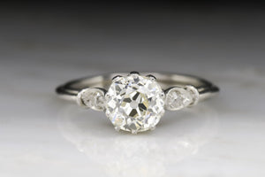 Antique Edwardian, Art Deco Women's Engagement Ring with a 1.27 Carat Old European Cut Diamond in Platinum
