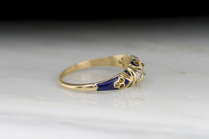 Antique Victorian Old Mine Cut Diamond Engagement Ring with Blue Enamel