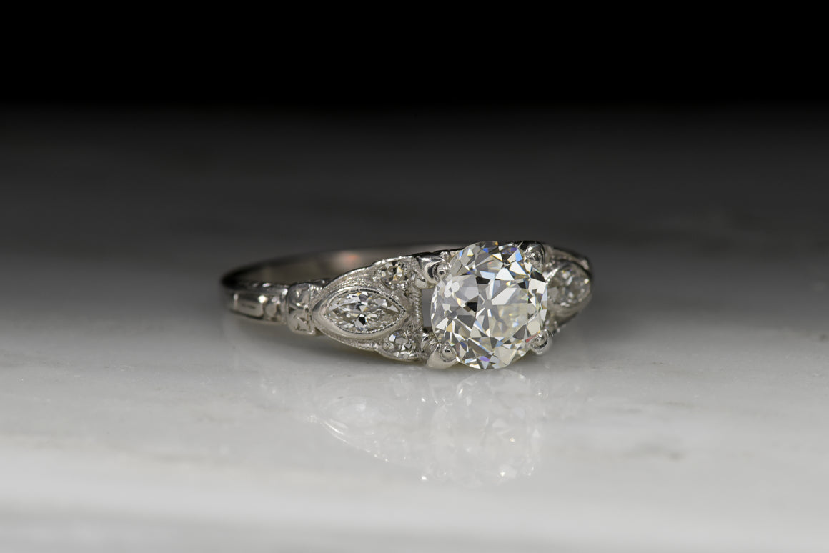 Antique Edwardian / Art Deco Old European Cut Diamond Engagement Ring