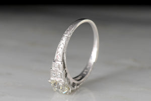 c. 1930s Art Deco Engagement Ring with Stepped Shoulders