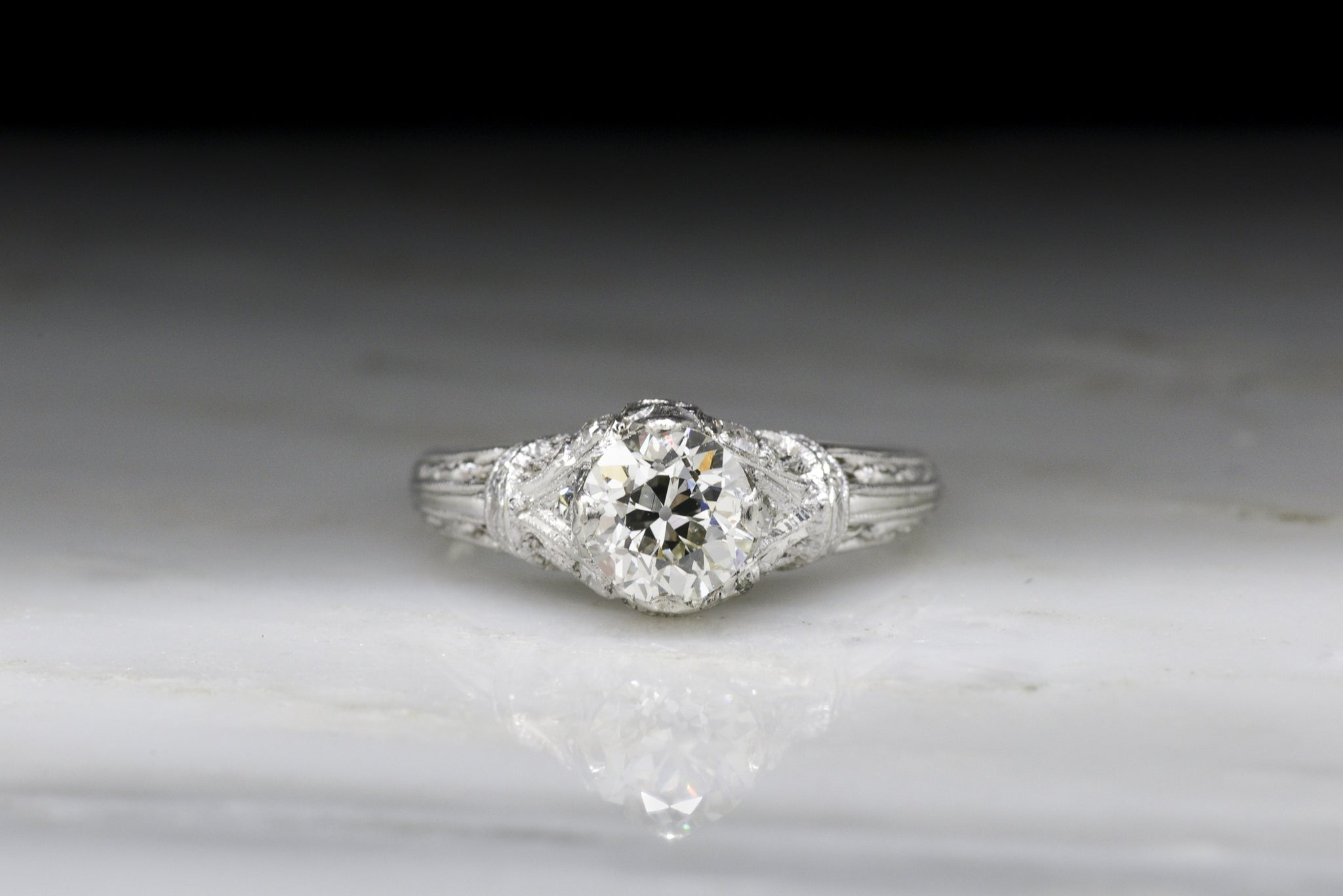 Antique Edwardian Engagement Ring with Old European Cut Diamond
