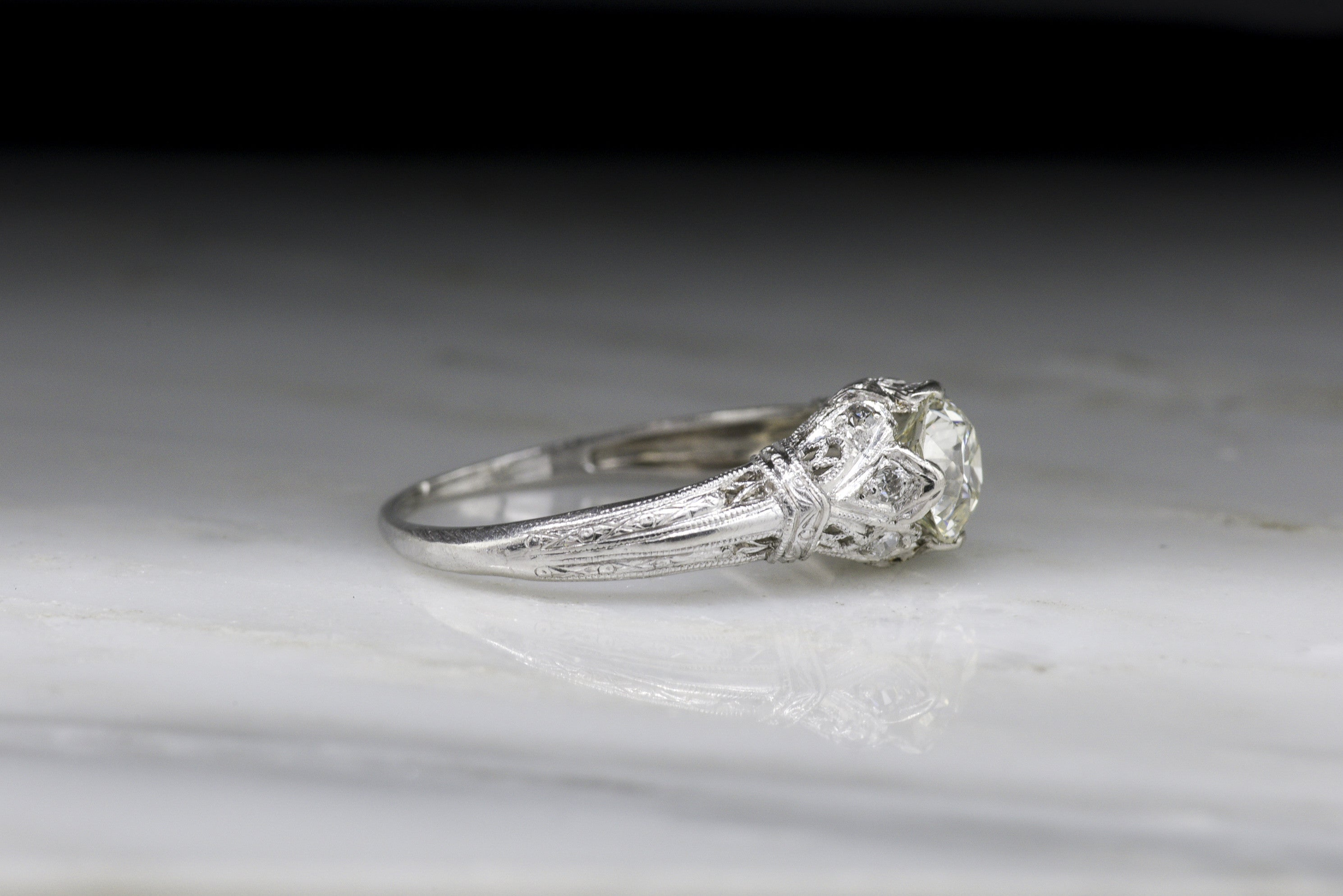 Antique Edwardian Engagement Ring With Old European Cut Diamond In Platinum  With Ornate Open Filigree, Hand Engraving, And Diamond Accents