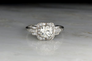 Late Art Deco Engagement Ring with Baguette Cut Shoulders