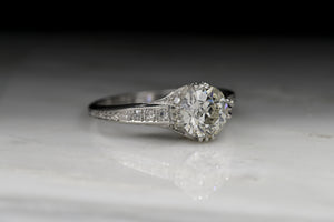 Antique Edwardian 1.54 Carat Old European Cut Diamond Engagement Ring