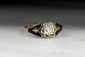Victorian .75 Carat Old European Cut Diamond Engagement Ring in Gold with Blue Enamel