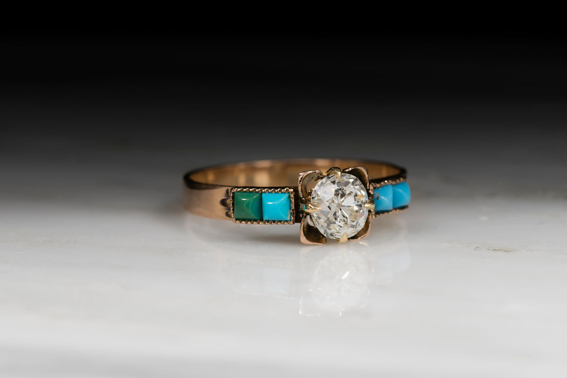 Antique Victorian Old Mine Cut Diamond and Turquoise Engagement or Stacking Ring