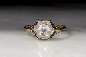 Victorian 1.61 Carat Hexagonal Rose Cut Diamond Engagement Ring with Blue Enamel