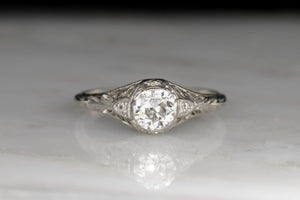 Late Edwardian GIA Certified Diamond and Platinum Engagement Ring
