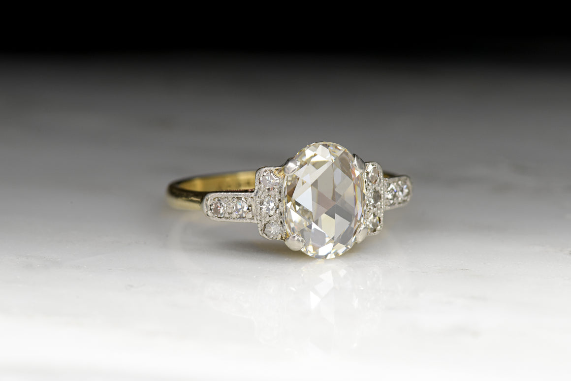 Antique Victorian GIA Certified 1.42 Carat Oval Rose Cut Diamond Engagement Ring