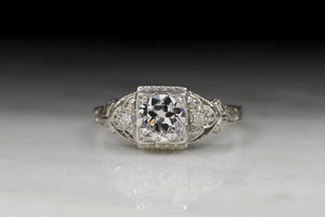 "Vintage Signed ""Keepsake"" Art Deco .50 Carat Old European Cut Diamond Engagement Ring"