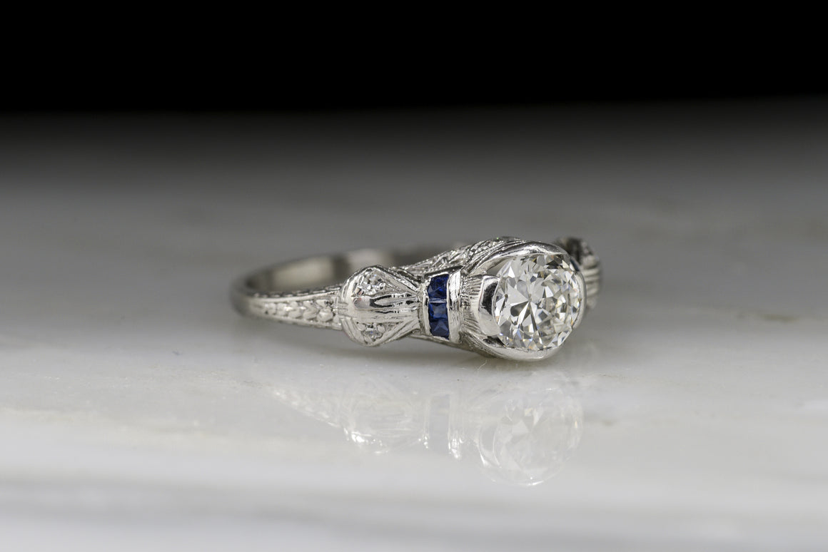Late Edwardian .75 Carat Old European Cut Diamond and Sapphire Engagement Ring