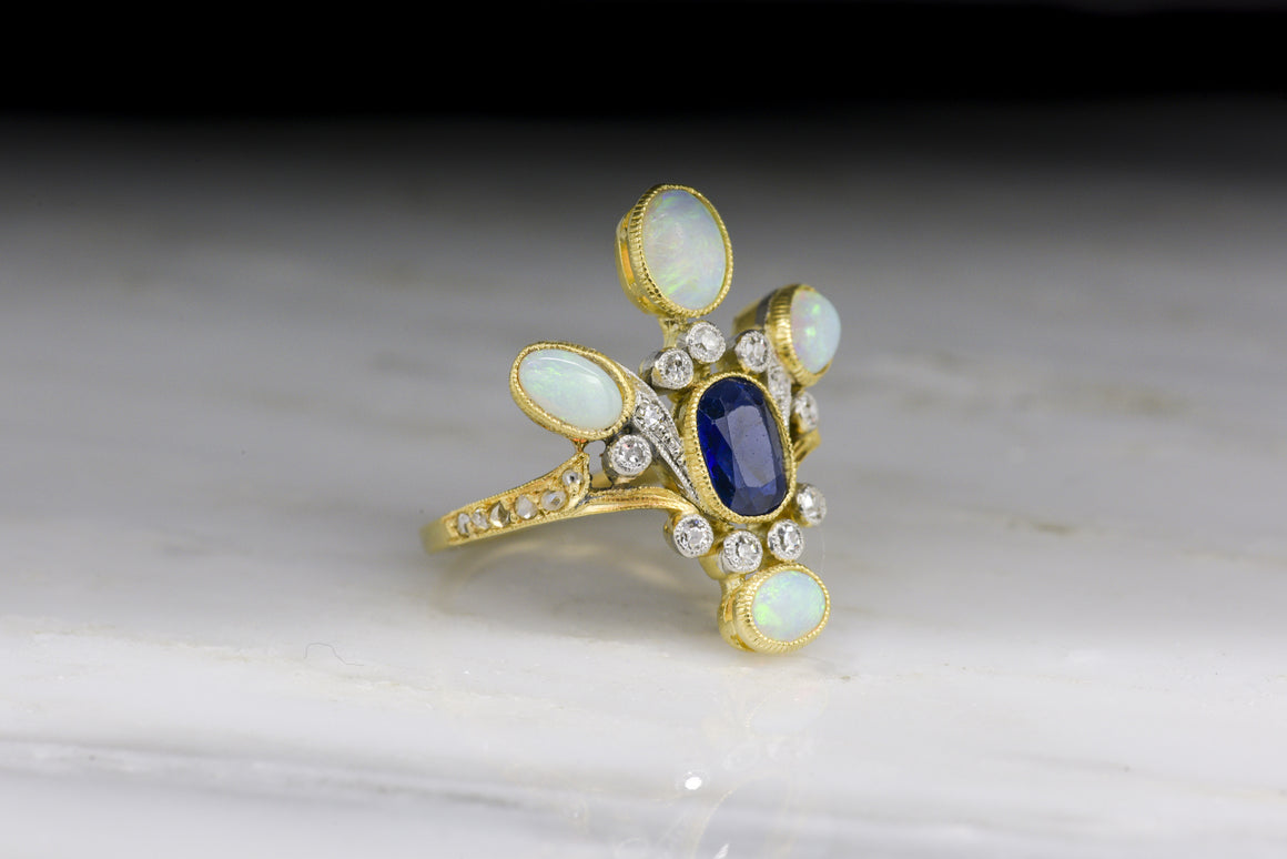 Antique Victorian / Edwardian Women's Statement Ring in 18K Yellow Gold and Platinum with Natural Opals, Sapphire, and Diamonds