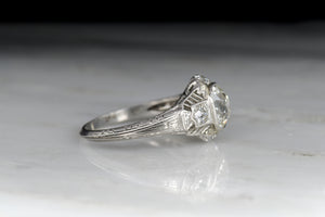 Edwardian / Art Deco GIA 1.55 Carat Old Mine Cushion Cut Diamond Engagement Ring