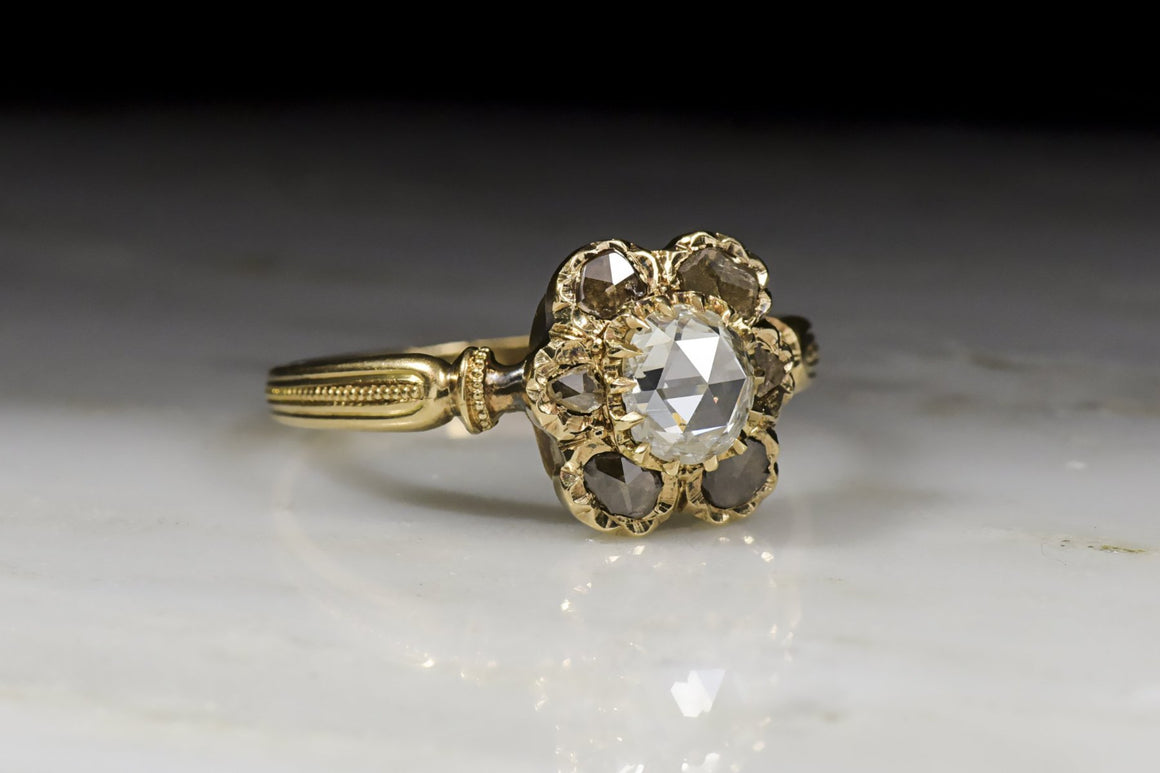 Antique Victorian Diamond Engagement Ring with Tall, Domed Oval Rose Cut Diamond Center in 18K Rose-Yellow Gold