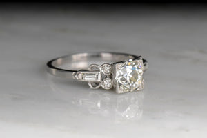 Art Deco Engagement Ring with a GIA 1.24 Carat Old European Cut Diamond Center