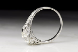 Vintage Edwardian / Art Deco Engagement Ring with Old European Cut Diamond Center (1.52 carats) and Ancient Scroll Filigree Motif