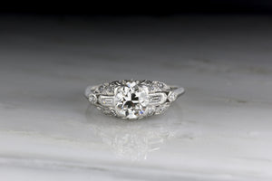 Art Deco .90 Carat Old European Cut Diamond Engagement Ring