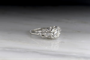 Art Deco .90 Carat Old European Cut Diamond Engagement Ring (1.10 ctw)