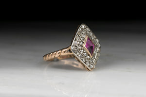Vintage Victorian Kite-Set Pink Sapphire and Antique Rose Cut Diamond Ring