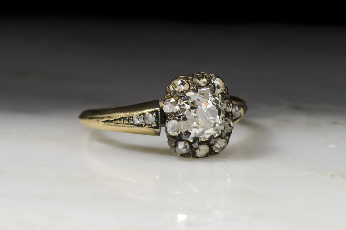 Victorian .90 Carat Old Mine Cut Diamond Halo / Cluster Engagement Ring