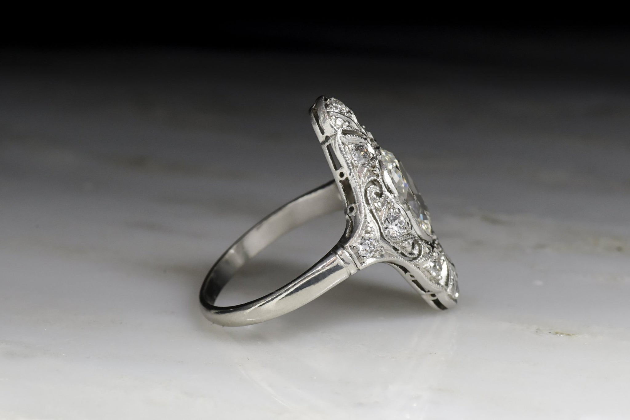 with carat antique ring diamond european center deco cut platinum old art sale products engagement vintage retro