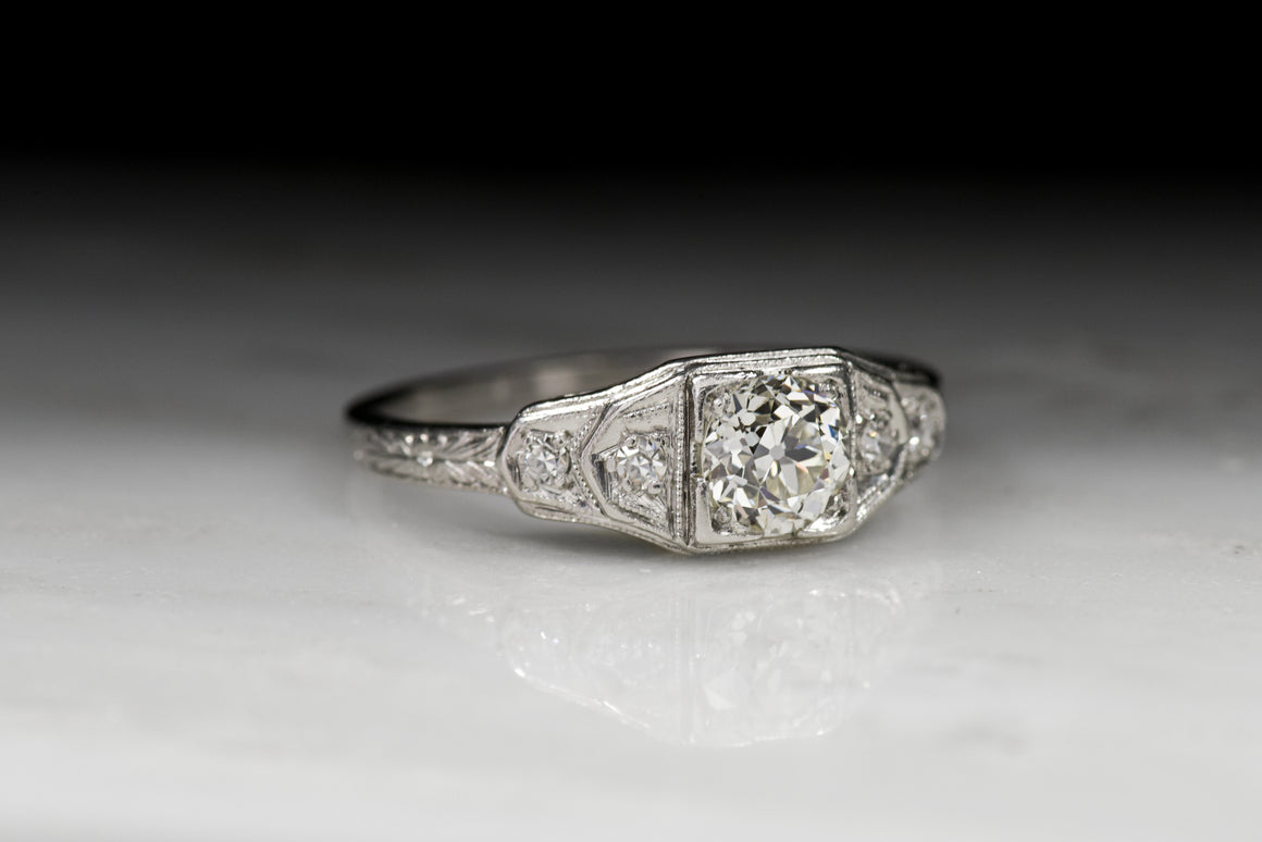 Vintage Art Deco .65 Carat Early Old European Cut Diamond Engagement Ring