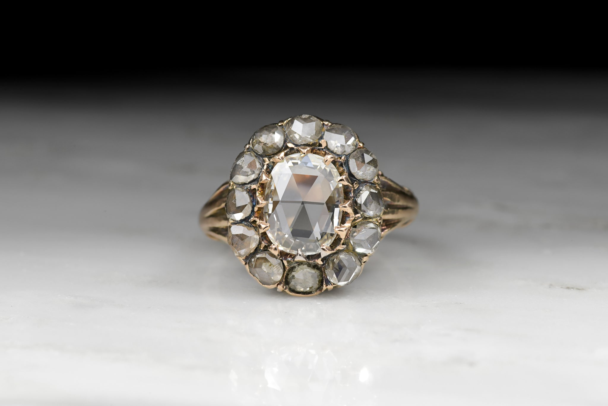 Antique Victorian Engagement Ring with Oval Rose Cut Diamond and