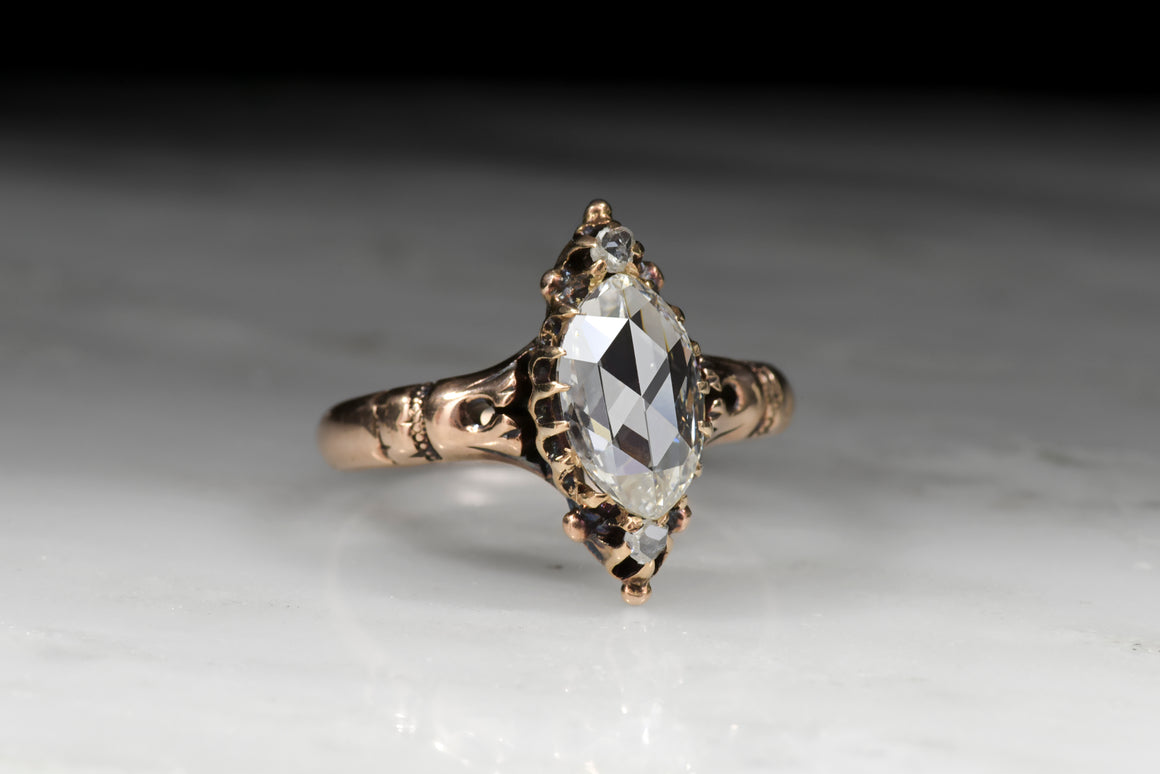 Antique / Vintage Victorian Marquise Cut Diamond Engagement Ring