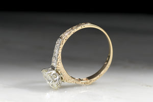 Antique Late Victorian / Early Edwardian 1.20 Carat Old European Cut Diamond Engagement Ring