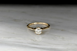 Late Victorian Six Prong Old Mine Cut Diamond Solitaire