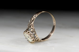 Victorian 1.29 Carat Old European Cut Diamond Rose Gold Engagement Ring