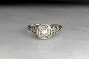 Circa 1940s Open Filigree Engagement Ring
