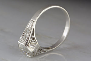 1.00ctw Art Deco / Post- Edwardian Platinum Engagement Ring with Beautifully Cut .87ct  Old Mine Cut Diamond Center