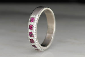 Ruby and Diamond Retro Band in White Gold