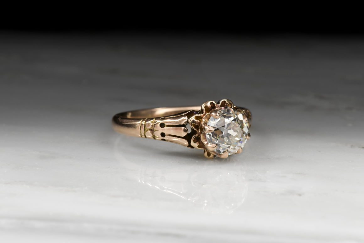 Victorian Engagement Ring: GIA Old European Cut Diamond in Rose Gold