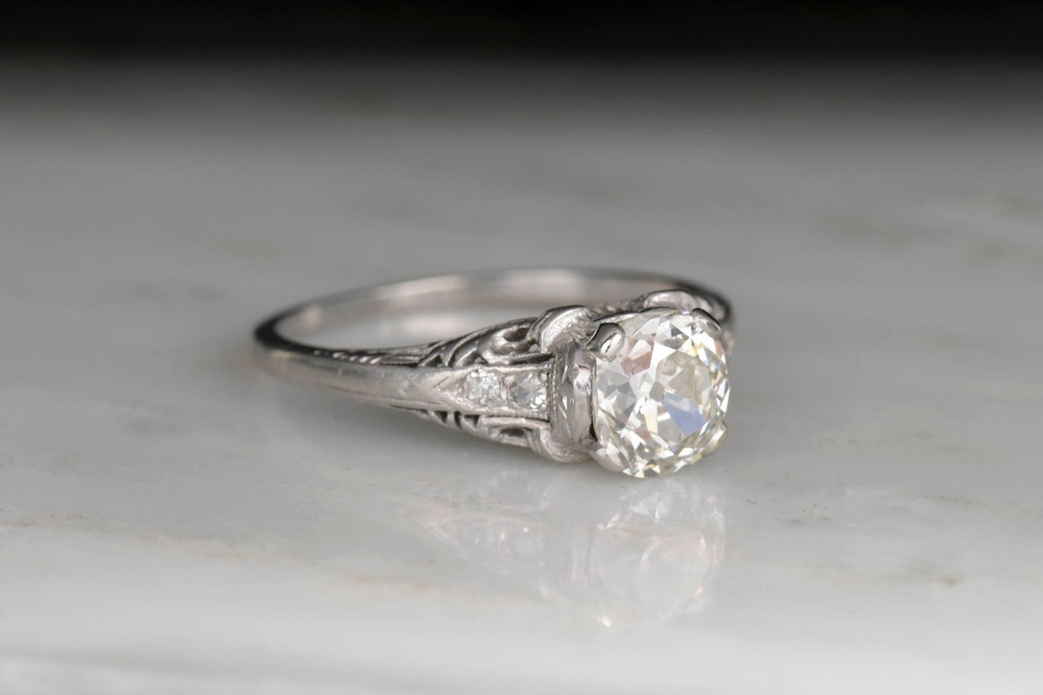 Vintage c. 1920s late Edwardian Platinum and Diamond Engagement Ring