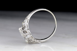 Vintage Edwardian Engagement Ring: GIA 1.25 Carat Marquise Cut Diamond