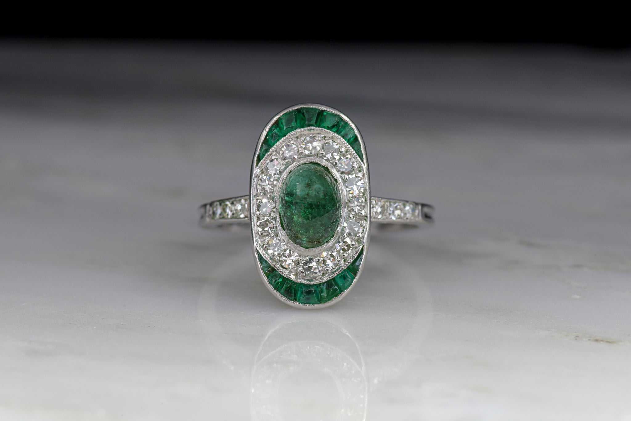 Art Deco Emerald, Diamond, and Platinum Engagement Ring or Cocktail Ring