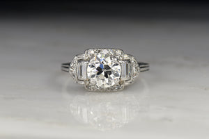 Art Deco Engagement Ring with a GIA 1.27 Carat Old European Cut Diamond Center