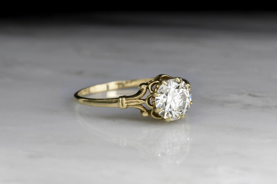 Victorian Buttercup Solitaire Engagement Ring with Tripartite Shoulders