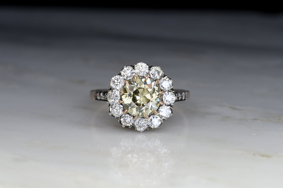 RESERVED!!! Custom Listing for GIA 1.32 Carat Fancy Greenish Yellow-Gray Diamond in a Victorian Mount