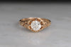 Victorian Buttercup Diamond Engagement Ring with Bas Relief Shoulders
