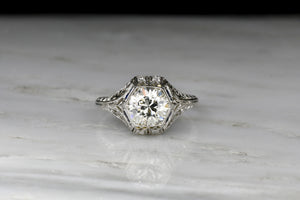 GIA 1.45 Carat Diamond in an Edwardian Engagement Ring with a Hexagonal Bezel