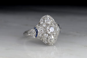 "Art Deco ""Lambert Brothers"" Diamond, Sapphire, and Platinum Cocktail or Anniversary Ring"