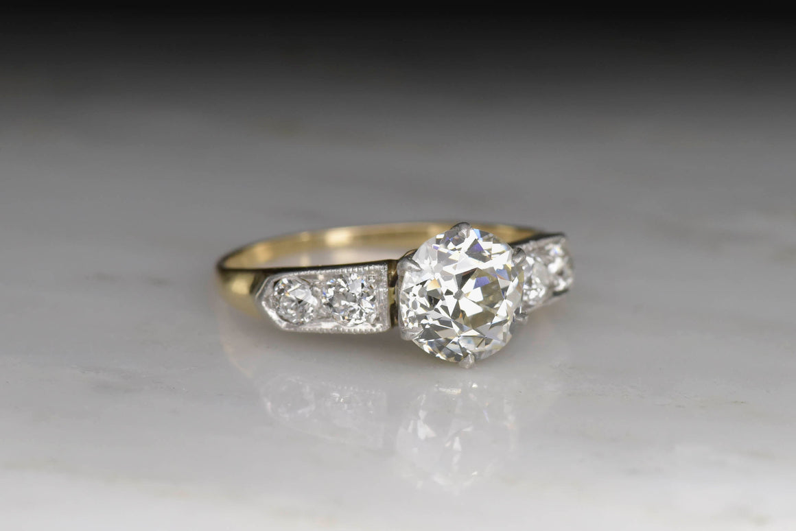 Belle Époque Gold and Platinum Diamond Engagement Ring