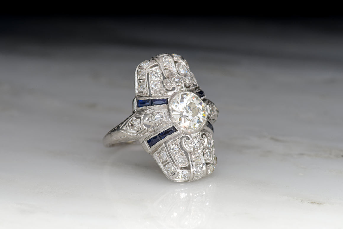 Art Deco Diamond and Sapphire Shield Ring / Cocktail Ring