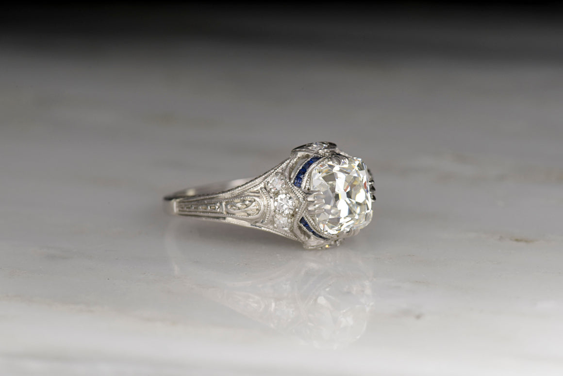 Edwardian / Art Deco Engagement Ring with an Old Mine Cut Diamond and Sapphire Accents
