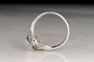 Edwardian / Art Deco Engagement Ring: GIA 1.68 Carat Old Mine Cut Diamond and Sapphire Accents