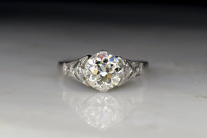 c. 1930s Cathedral Mount Engagement Ring with a GIA Certified 1.51 Carat Old European Cut Diamond